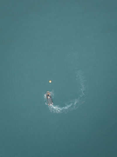 aerial photograph of a boat in motion