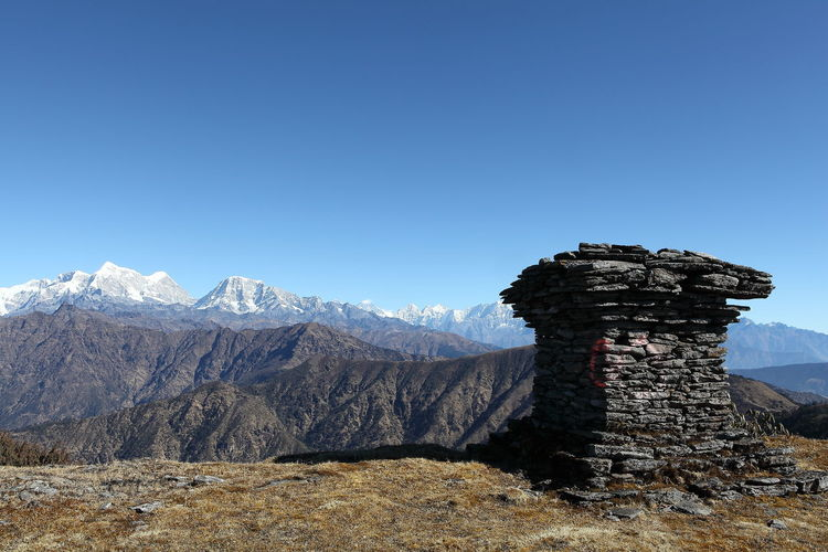 Hiking trail Everest region. Photographed from Pikey Peak. Asian  Buddhism Temple Built Structure Clear Sky Everest Region EyeEm Best Shots EyeEm Gallery Hiking Adventures Hiking In Nepal Himalaya Himalayan Range Mountain Mountain Range Nepal Scenics Snowcapped Mountain Tourism Tranquil Scene Tranquility Travel Destinations