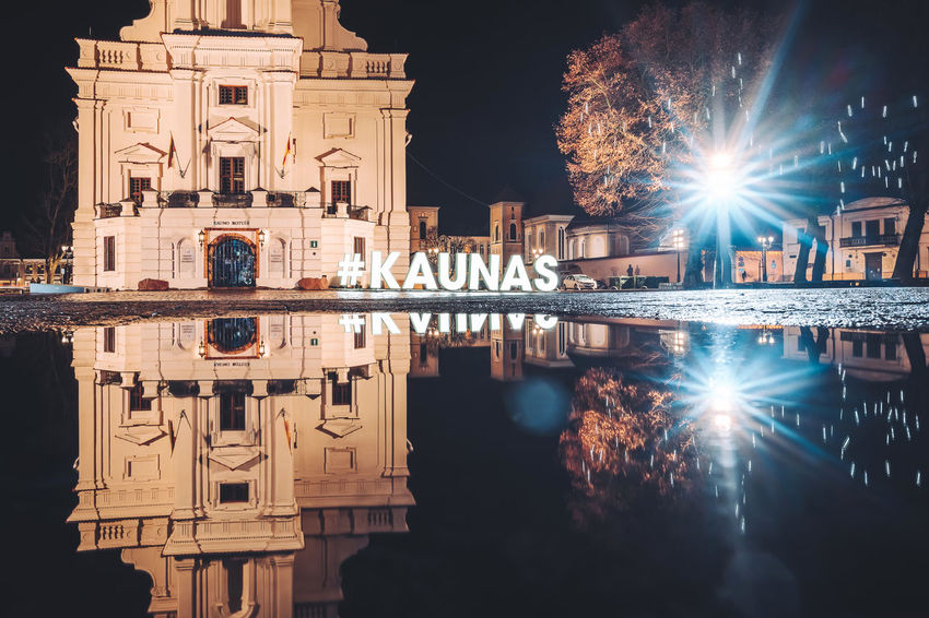 Reflection Nikon Z7 Z7 Europe Lithuania Lietuva Reflection Puddle Kaunas Old Town Old Town Town Hall Architecture Built Structure Water Building Exterior Illuminated Night Nature Waterfront Building Travel Destinations History City The Past Sky No People Tourism Symmetry Outdoors
