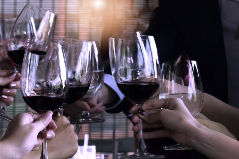 Group Of Friends Enjoying In Restaurant Human Hand Refreshment Glass Alcohol Drink Food And Drink Hand Wineglass Wine Human Body Part Holding Real People Lifestyles Leisure Activity Group Of People People Adult Men Red Wine Table Celebratory Toast Body Part Finger