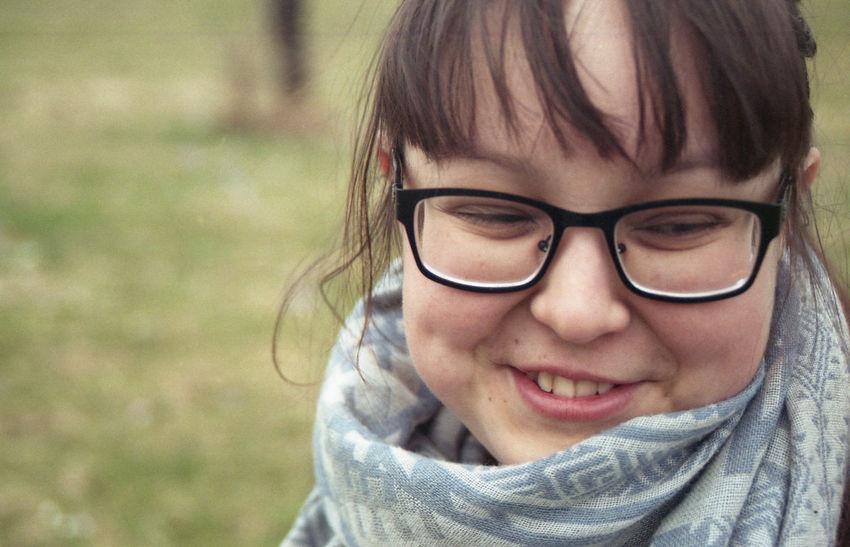 Freshness. 35mm Film Cute Dimples  Exakta 3.5-4.5/35-70mm Eyeglasses  Film Photography Innocence Modesty  One Girl Only Portrait Smiling