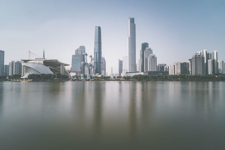 Panoramic view of river and buildings against sky