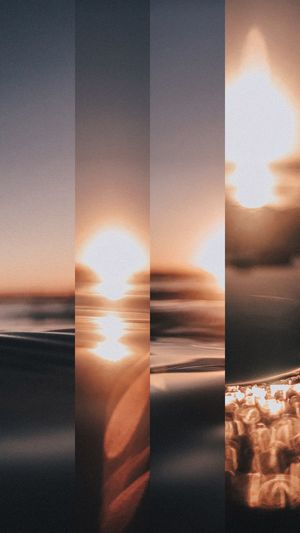 Digital composite image of sea seen through window