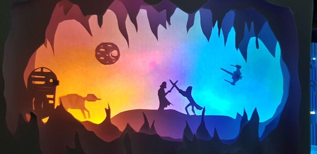 Light Box Paper Moon Couché De Soleil Art And Craft Starwars Silhouette
