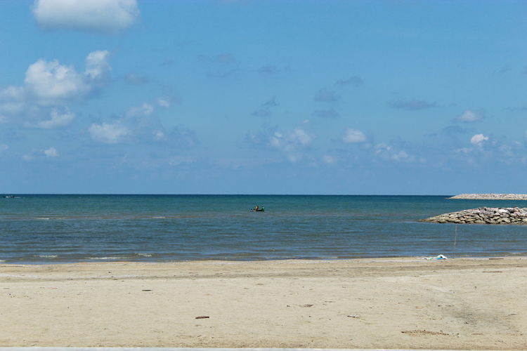 Arunothai Beach Beach Beauty In Nature Cloud - Sky Day Horizon Horizon Over Water Idyllic Land Nature No People Outdoors Sand Scenics - Nature Sea Sky Tranquil Scene Tranquility Travel Turquoise Colored Water