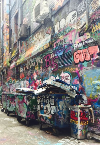 Surface space Graffiti Street Art Architecture Multi Colored Built Structure Day Trash Trashed Bins Streetart/graffiti Outdoors City No People Melbourne Melbourne Laneways The Graphic City Colour Your Horizn