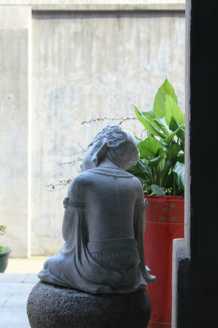 statue, human representation, male likeness, sculpture, day, no people, plant, growth, outdoors, close-up, nature