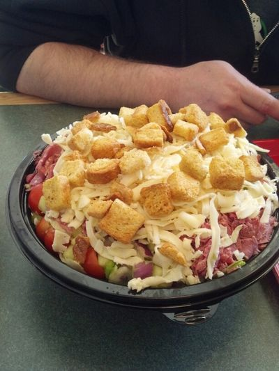 family size salad. it's too big for three of us. too big to serve. looks decent though, around $9