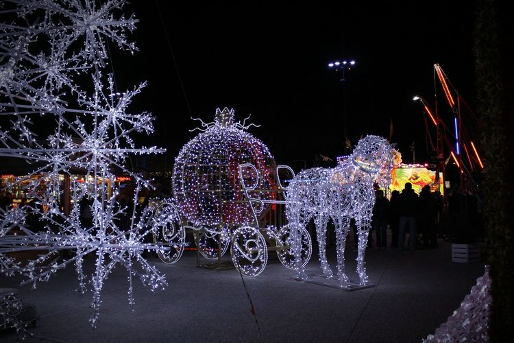 Decoration Lumière Cheval Carosse  Féérie Feerique Night Christmas Decoration Christmas Celebration Illuminated Christmas Lights No People