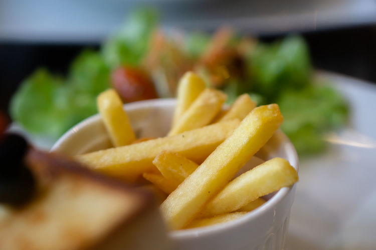 Close-up of fries on plate