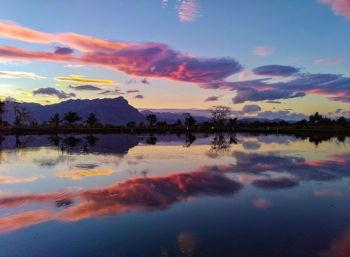 Reflection Lake Water Sunset Scenics Cloud - Sky Nature Sky Mountain Beauty In Nature Autumn Outdoors Red Landscape Dawn Multi Colored No People Symmetry Day EyeEmNewHere Perspectives On Nature Outdors No People Sulawesi Selatan Beauty In Nature Lost In The Landscape Be. Ready.