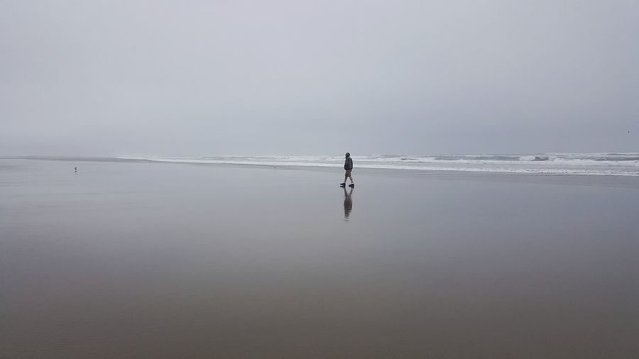 Person on sea shore against sky