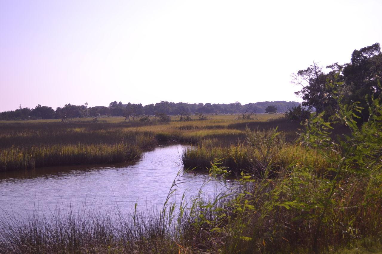 View Of Stream Flowing Through Grassy Landscape