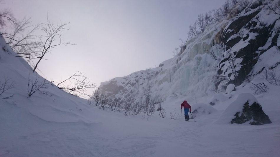 Up Hill Ravine Ice Falls Windy Skiing Winter Saltoluokta