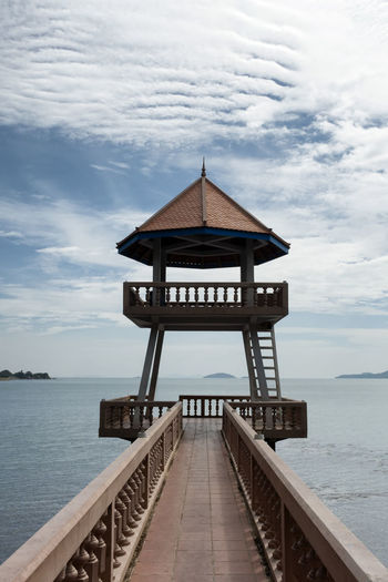Sea View Architecture Art Is Everywhere ASIA Asian  Asian Architecture Beauty In Nature Cloud - Sky EyeEm Best Shots EyeEm New Here Gazebo Horizon Over Water Jetty No People Scenics Sea Sea View The Secret Spaces Tranquil Scene Tranquility Water Wood - Material The Architect - 2017 EyeEm Awards Breathing Space Investing In Quality Of Life Perspectives On Nature An Eye For Travel