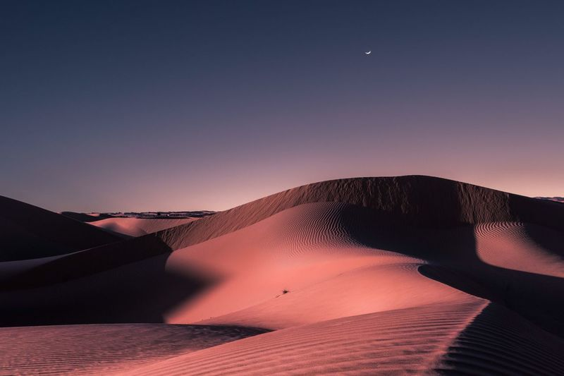Nature Beauty In Nature Tranquil Scene Scenics Tranquility Sand Dune Physical Geography Clear Sky Landscape Day Moon Sand No People Sky