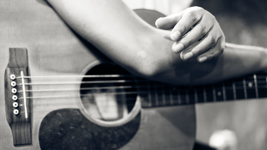 Black&white Camping Classic Dark Guitar Hand Listen Man Melody Monotone Music Musician Night Party Play Sound Wood