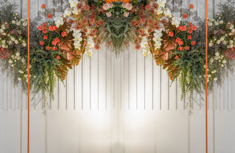 Flowers hanging against white wall