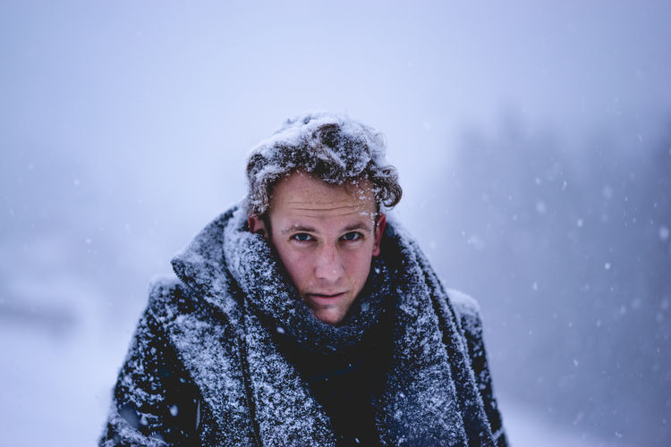 Portrait Of Man In Snow