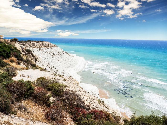 Sicily Beach Beauty In Nature Cliff Cloud - Sky Day Horizon Horizon Over Water Idyllic Land Nature No People Non-urban Scene Outdoors Rock Scalinata Dei Turchi Scenics - Nature Sea Sky Tranquil Scene Tranquility Water