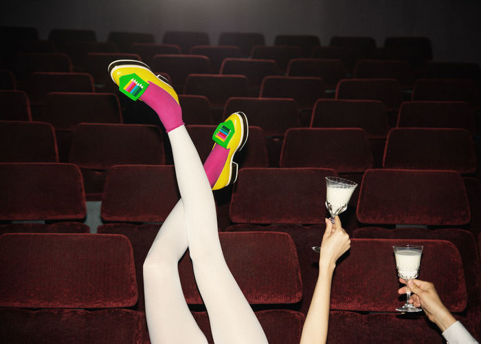 Watching the Dreamers Long Legs Yellow Shoes Shoes Fashion Glass Of Milk Couple Cinema Theater Red Chairs Pink Socks Cheers Love Valentine's Day  Linas Was Here #NotYourCliche Love Letter