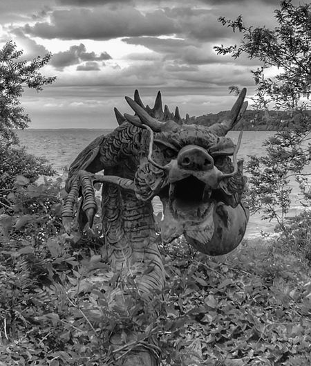 Sculpture Blackandwhite Black And White Eerie Dragon HDR Gloomy Menacing Sea Beach Outdoors Nature Day No People Sky