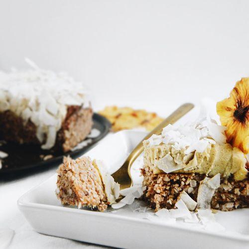 Coconut Coconut Chips Pineapple Raw Cake Cake Close-up Food Fruit Fruit Cake  No People Piña Colada Raw Food Ready-to-eat Vegan Food White White Background