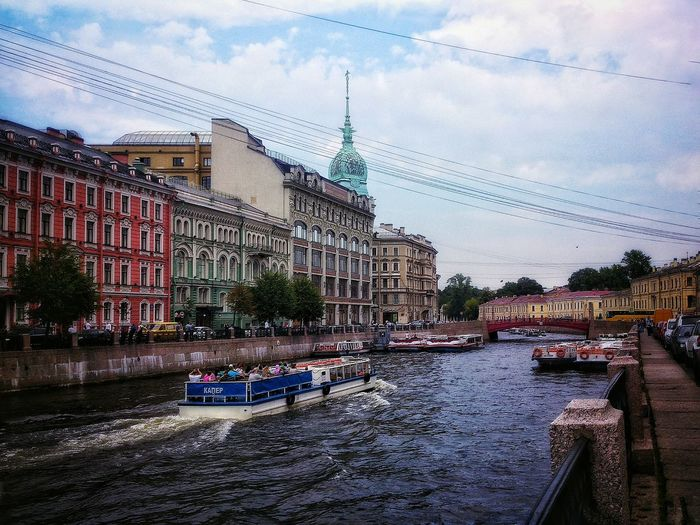Walk around the city Saint Petersburg St. Petetrsburg Redbridge Boats And Water Boat Architecture Moyka Outdoors River View Cloud - Sky Waterfront Scenics Day