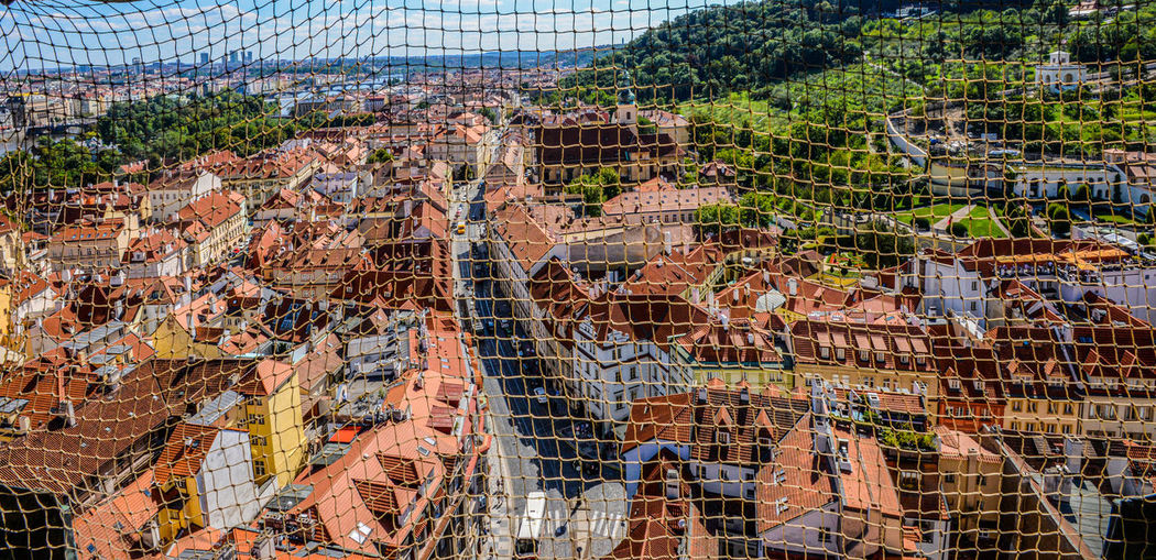 High angel view of net aganst townscape