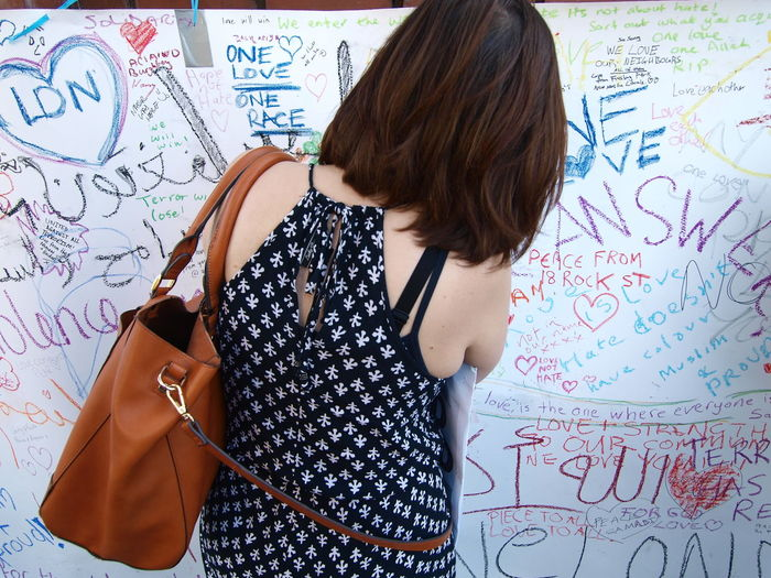 Rear view of woman writing on wall