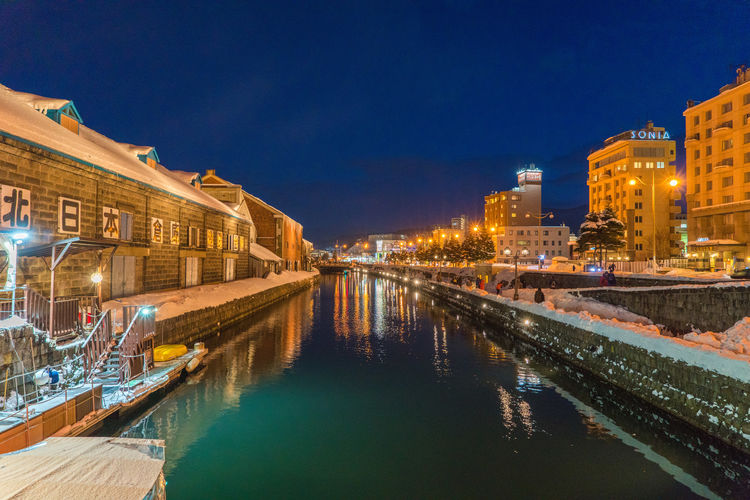Night Otaru Japan Japan Photography Japanese  Otaru Otaru Canal Architecture Blue Building Building Exterior Built Structure Canal City Dusk Illuminated Nature Night No People Outdoors Reflection Residential District Sky Street Water Waterfront