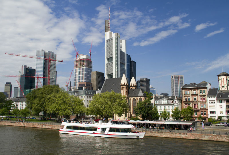 Frankfurt Germany Dutchlandscape Dutch Cities Frankfurt Am Main City Tree Cityscape Water Nautical Vessel Urban Skyline Skyscraper Modern Business Finance And Industry Sea Building Story Moored Infrastructure Longtail Boat Harbor City Location Office Building Financial District  Waterfront Dock