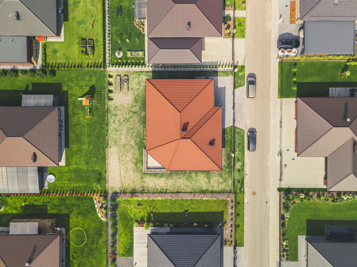 Aerial view of house in city