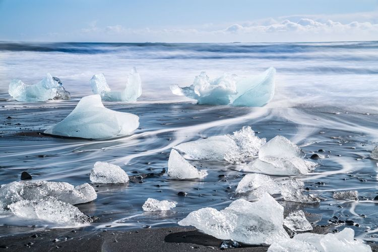 Icebergs on black sand at jokulsarlon lagoon