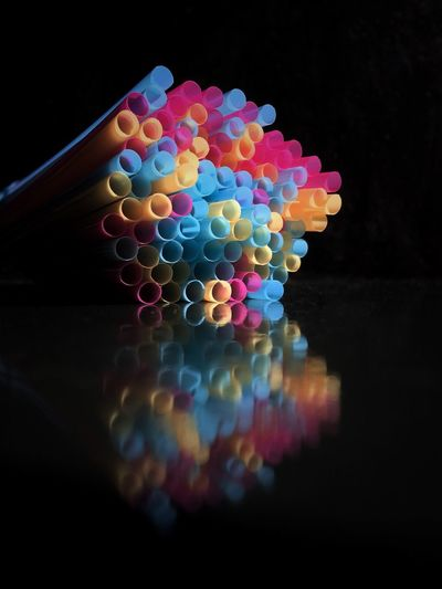 Drinking Straws Against Black Background IV Multi Colored Colorful Glowing Vibrant Color Still Life Circle Close-up Blue Geometric Shape Bright No People Food And Drink Drink Drinking Straw Photography Color Image Studio Shot Black Background Horizontal Plastic Abstract Variation Arrangement Low Angle View Light - Natural Phenomenon