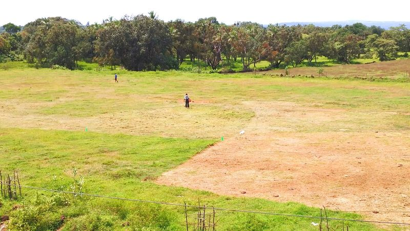 Fine figure of a man mowing lawn of large playground. Lawn Mowing Lone Man Alone Single Grass Cutter Large Ground Vast Vastness Playground Expanse Green Grass Cut Distant Fine Figure High Angle View Isolation Landscrape Lawnmower Maintainance Pitch Working Single Person One Person Goa Goa India
