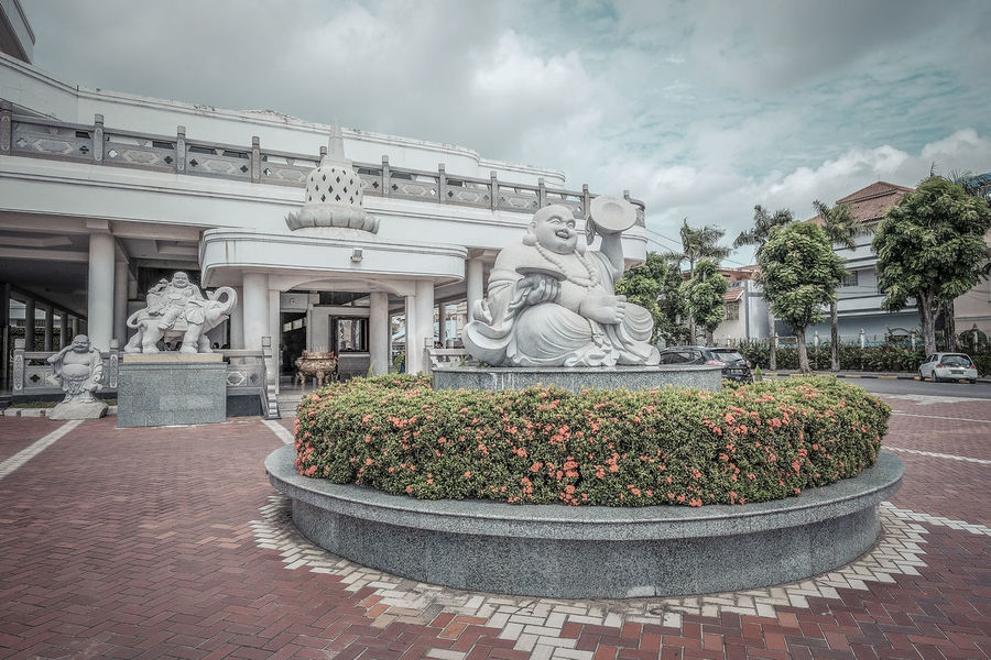Vihara Maitreya at Batam Island Architecture Built Structure Chinese Culture Day Maitreya Monochrome Muted Colors Temple Architecture Vihara Statues No People