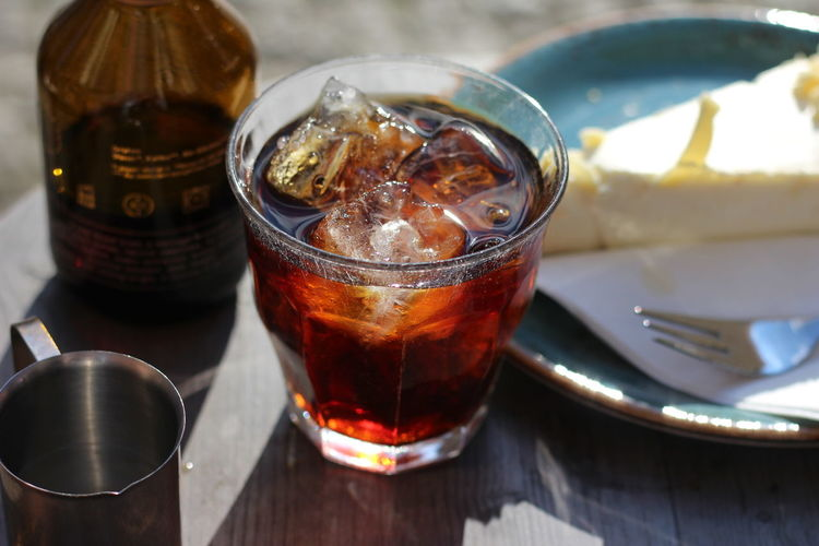 Cold brewed coffee served in Berlin Close-up Coffee Coffee Break Cold Brew Cold Brew Coffee Coldbrew Coldbrewcoffee ColdBrewedCoffee Day Drink Drinking Glass Ice Cube Iced Coffee Refreshment Summer Sunlight Table