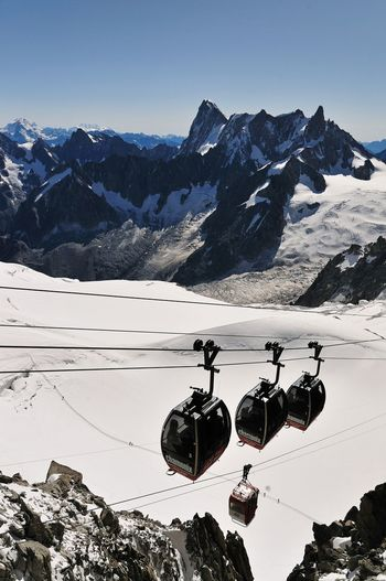 Low angle view of overhead cable car against snowcapped mountains