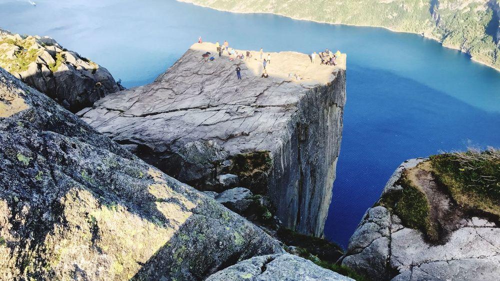 Preikestolen Preikestolen Water Nature Rock Day Sunlight Beauty In Nature High Angle View Rock - Object Land Outdoors