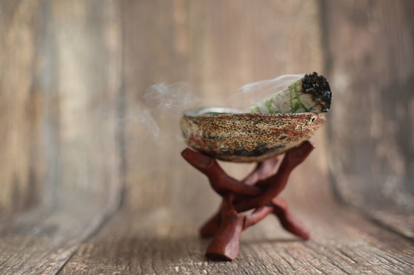 A sage stick for cleansing and spiritual rituals. Burning Cleansing Clearing Close-up Day Meditation Sage Sage Stick Smudging Spiritual Spirituality
