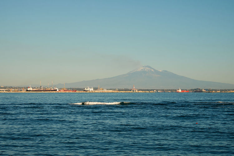 Etna, Mountain, Sicily, Beauty In Nature Blue Clear Sky Day Mountain Nature No People Outdoors Scenics Sea Sky Tranquility Water Waterfront
