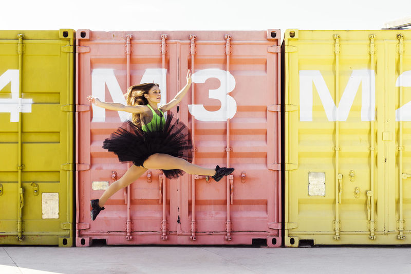 Ballerina Colors Dance Dancing Industrial Jump Performer  Pink Acrobatics  Aerobics Art Ballet Containers Contemporary Dance Shoes Dancer Expression Jumping Mustard Color Skip Street Street Dance Tutu Urban Yellow Fresh On Market 2017