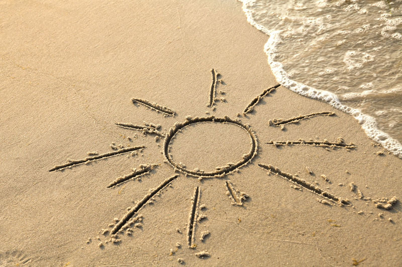 Sun symbol as a sand painting on the beach Coastline Creativity Sunrays Surf Travel Water's Edge Wave Beach Day Directly Above Nature No People Ocean Outdoors Sand Sand Painting Sea Summer Sun Sunbath Symbol Tourism Vacations Water Wipe