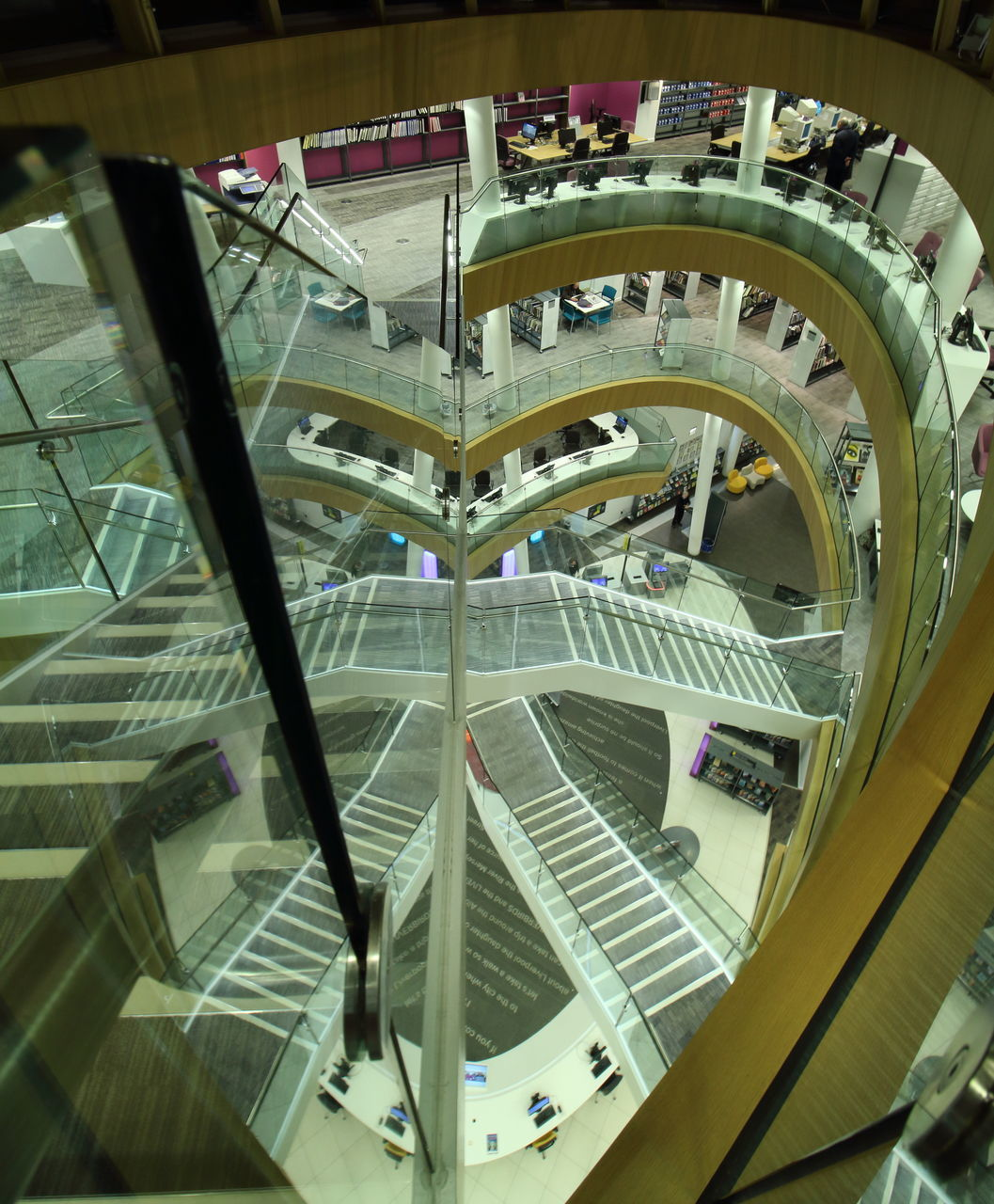 architecture, staircase, indoors, steps and staircases, steps, built structure, modern, futuristic, no people, technology, day
