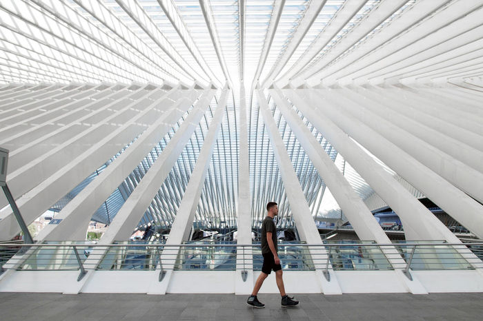 Calatrava Liège Liège-Guillemins Railway Station Architecture Built Structure Day Full Length Indoors  Liège-guillemins One Person Strideby Walking Young Adult