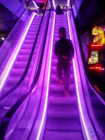 Child Childhood Illuminated Full Length Nightlife Pink Color Steps And Staircases Stairway Staircase Stairs Steps Escalator Neon