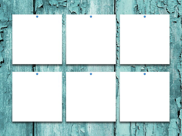 Six blank square frames on aqua scratched wooden background Aqua Backgrounds Blank Blue Copy Space Day Empty Frame No People Scratched And Cracked Wood Six Square Timber Wood Wood - Material