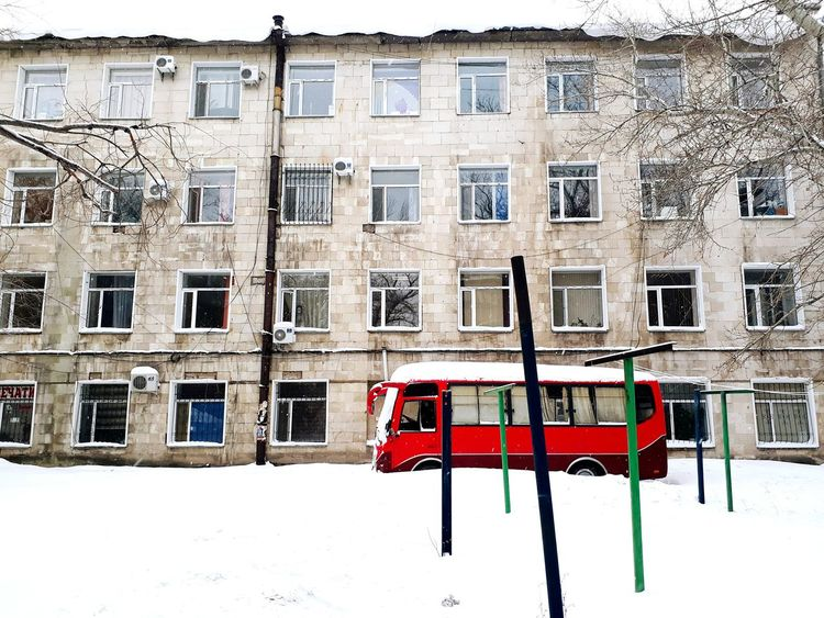 Winter Snow Cold Temperature Red Building Exterior Architecture Built Structure Outdoors No People Day USSR, Old Buildings Red Color Societies Soviet Union Kazakhstan Karagandy
