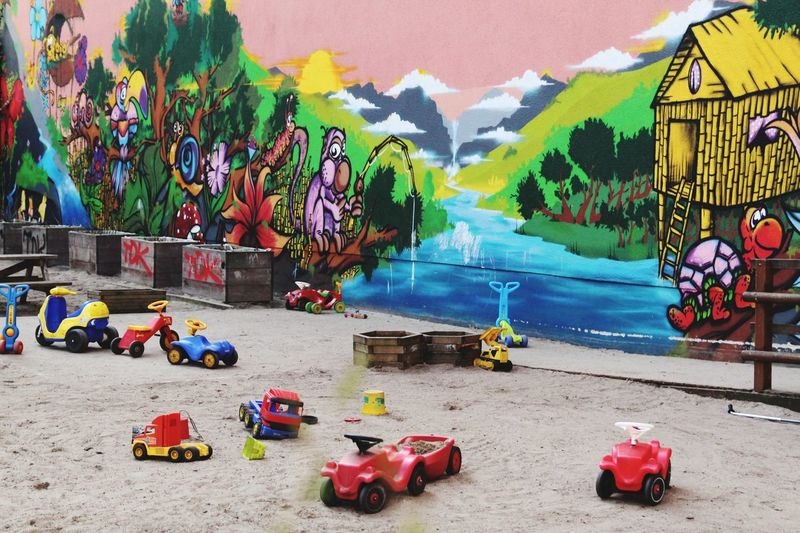 Plastic toys for children Kids Playground Sandkasten Spielplatz Kindergarten Playground Equipment Playground Berliner Ansichten EndPlasticPollution Multi Colored Day City No People Outdoors